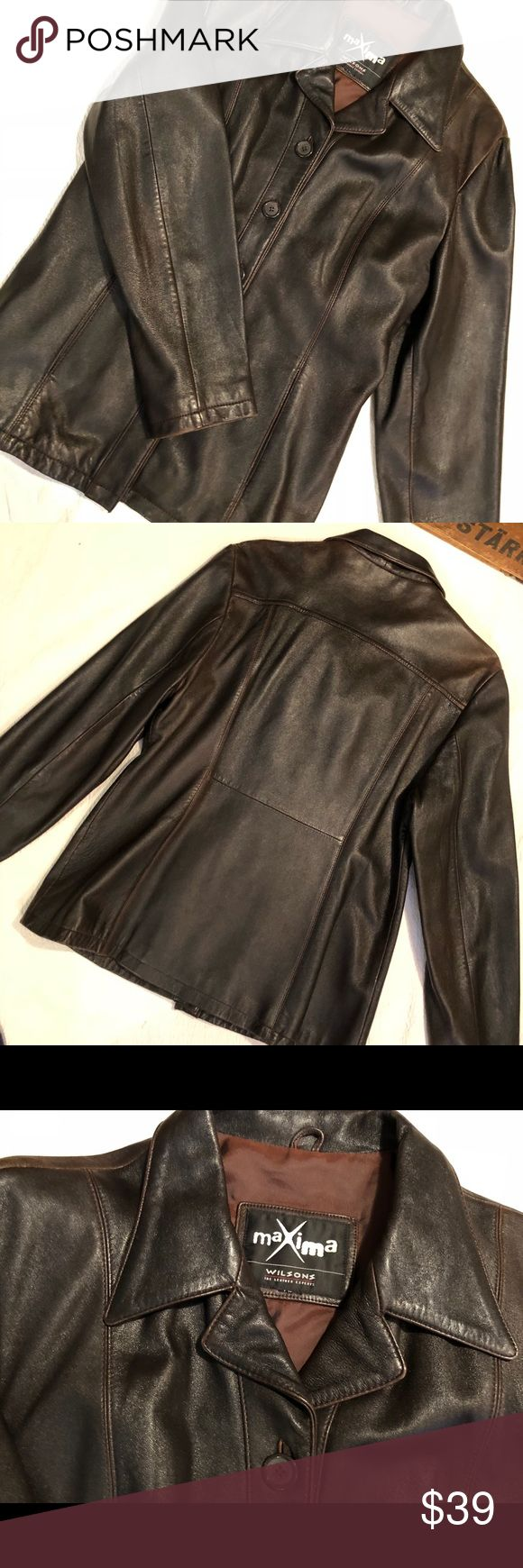 """Leather jacket Wilson's dark brn. Med. Lg. Gorgeous chocolate brown Wilson's leather jacket. Super soft , classic style will stand the test of time! Very good used condition, only minor distressing that adds to the beauty of this piece. Missing size tag I would say it is a medium large. Shoulder to shoulder 18"""" Underarm to underarm 19"""" length from top of collar to hem 29"""". Please check your measurements. Wilsons Leather Jackets & Coats"""