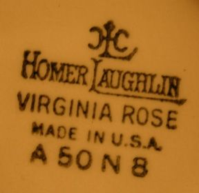 Homer Laughlin's Virginia Rose Mark. My Grandma's dishes  K48N8
