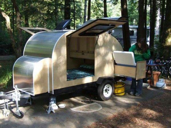 Slide out kitchen section diy teardrop trailer ideas for Teardrop camper kitchen ideas