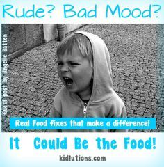 """Spin-Doctor Parenting"": Rude? Bad Mood? It Could Be the Food!  Interesting article, although having scientific research to back up the article would be more helpful. Could be a good thesis paper (for dietetics degree)."