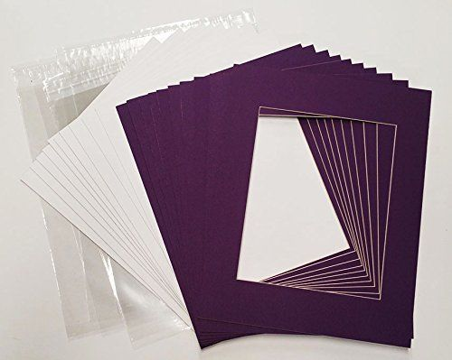Dark Purple 12x18 White Picture Mats with White Core for 11x14 Pictures - Fits 12x18 Frame