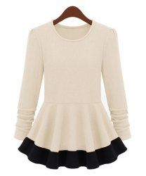 $10.89 Ruffles Color Block Ladylike Style Long Sleeves Scoop Neck Pleated Blouse For Women