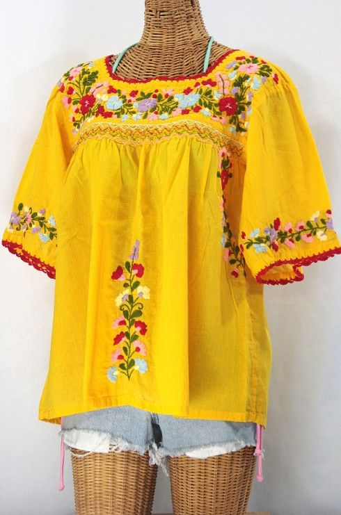 "<3 this red crochet trim!  The ""La Marina"" Embroidered Mexican Blouse by Siren in Goldenrod."