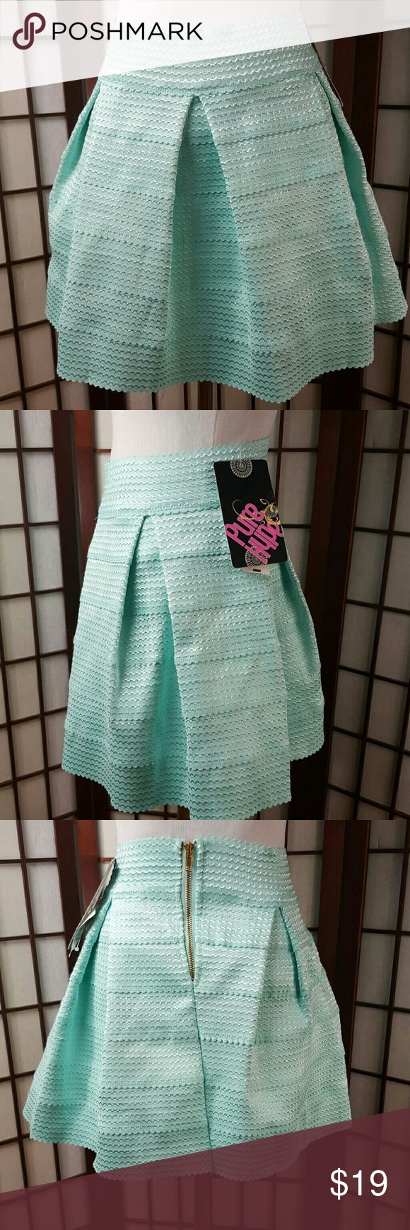 """Mint Green Pure Hype Pleated Flare Skirt New with tags Pure Hype size small Mint Green color Pleated Flare Skirt  Made of polyester  Stretchable  Measurements approximate  Waist 27"""" Length 15.5"""" pure hype Skirts"""