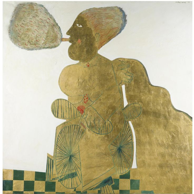 'Seigneur de Lumiere' (Lord of Light) (1968) by Greek artist Alecos Fassianos (b.1935). Oil and gold leaf on canvas, 58.75 x 58.75 in. source: Sotheby's. via pink pagoda studio