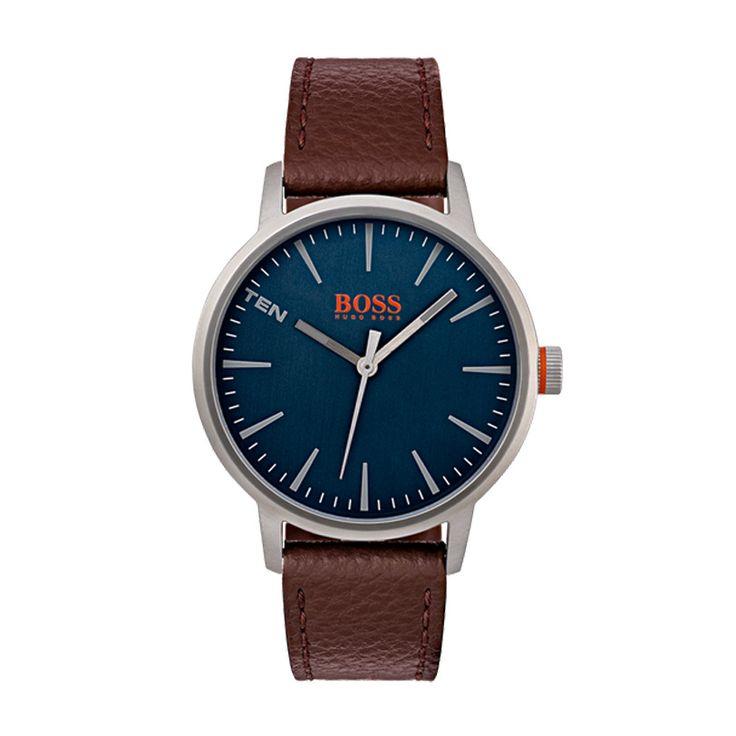 Ανδρικό ρολόι HUGO BOSS ORANGE 1550057 με μπλε καντράν με ασημί λεπτομέρειες & λουρί από καφέ δέρμα | HUGO BOSS ρολόγια ΤΣΑΛΔΑΡΗΣ στο Χαλάνδρι #boss #orange #λουρι