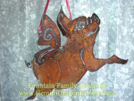 Flying Pig Rusty Garden Art from Recycled Metal by GeminiDragonfly, $36.00