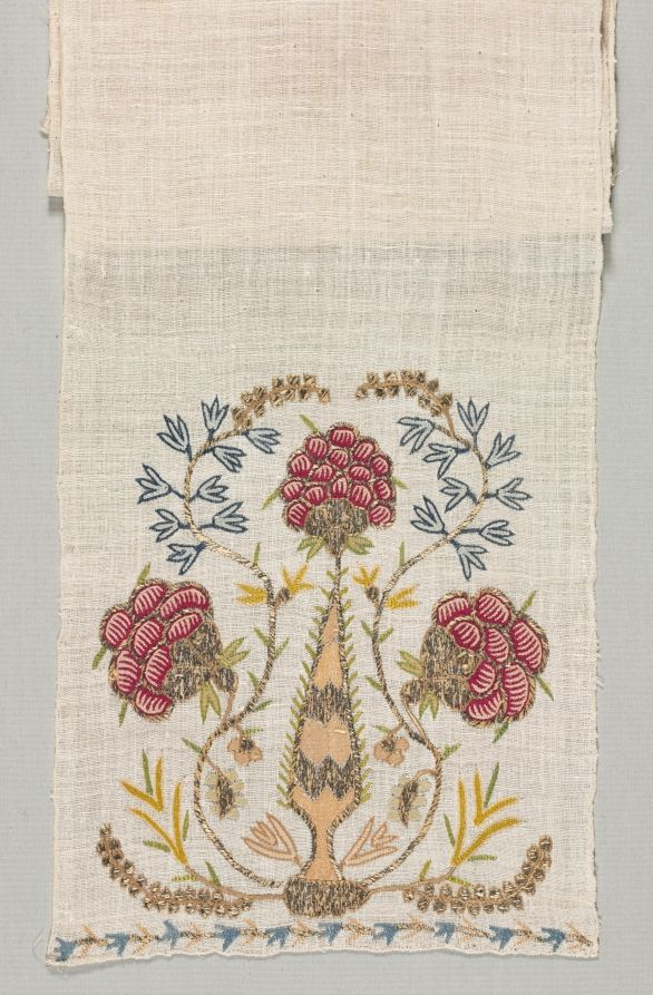 Turkey, 18th century, embroidery: silk and silver filé on linen tabby ground, Average: 200 x 26.2 cm (78 11/16 x 10 5/16 in). Harold North Fowler Collection 1956.679