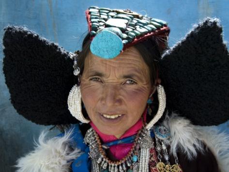 Woman Wearing Traditional Headgear (Perak). Ladakh, India #NomadsSecrets