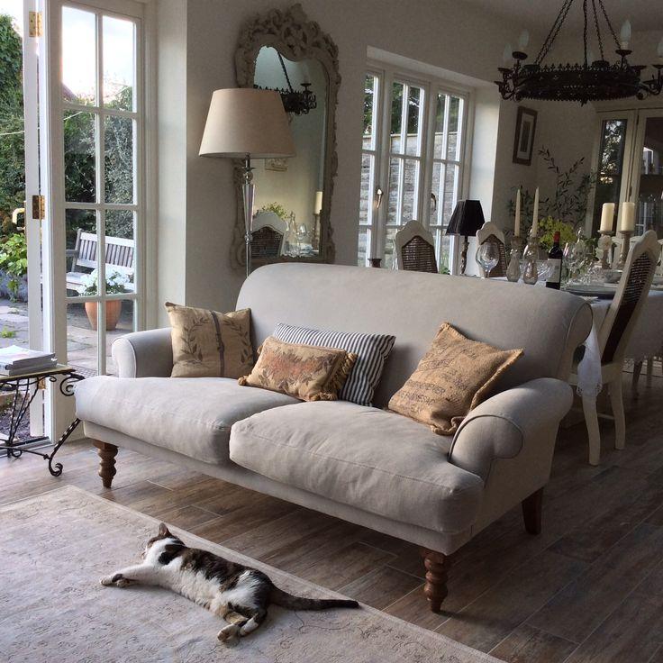 Sue's elegant Saturday sofa in Smoke cotton matt velvet taking in the summer light in Warwickshire