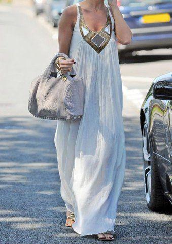 Fashionable Scoop Neck Paillette Decorated Maxi Dress For Women
