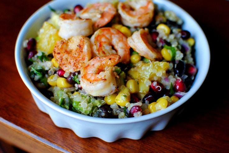 superfood salad with lemon vinaigrette | iowa girl eats: Super Food, Fun Recipes, Superfood Salad, Black Beans, Superfoodsalad, Beans Salad, Lemon Vinaigrette, Iowa Girls Eating, Grilled Shrimp