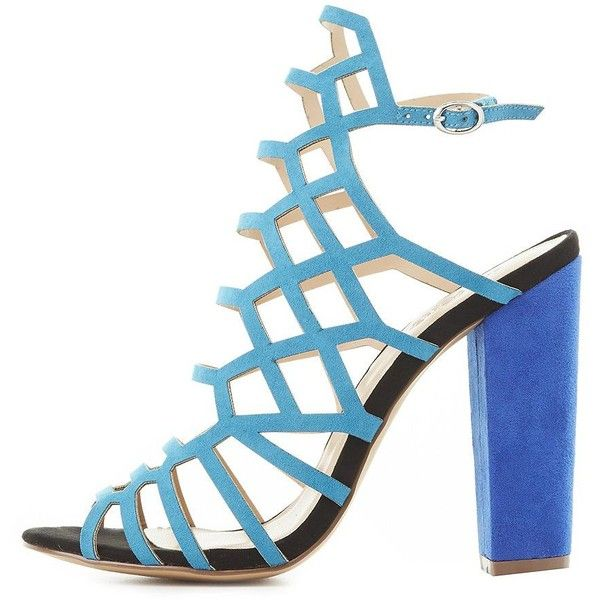 Charlotte Russe Colorblock Laser Cut Sandals ($20) ❤ liked on Polyvore featuring shoes, sandals, blue, laced sandals, dress sandals, lace up block heel sandals, blue block heel sandals and block heel shoes
