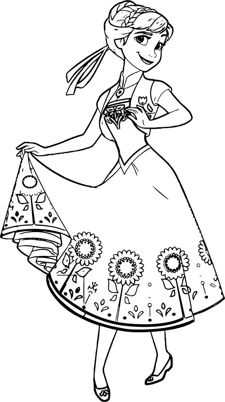 Cool Beautiful Anna Flower Skirt Coloring Page Disney