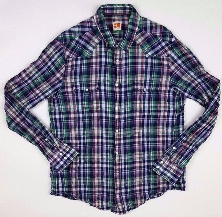 BOSS Orange SHIRT Mens XL Checked MULTICOLOR Madras SIZE Sz EDA Pearl SNAP  Blend