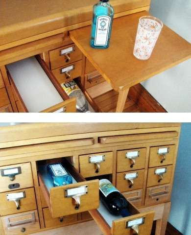 Library Catalog- card catalog to hold wine!?