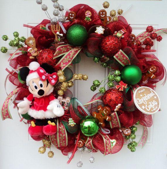 Minnie Mouse Disney Christmas Wreath by SparkleForYourCastle, $125.00