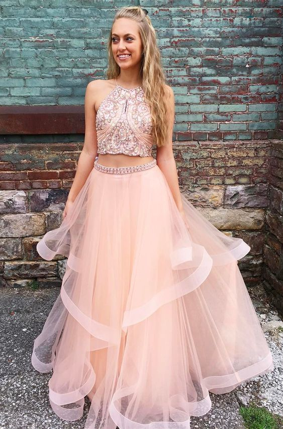 0f1cda61b63 princess two piece pink long prom dress with sparkle top