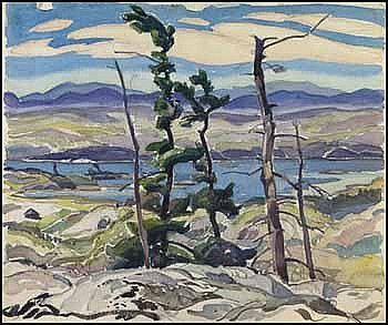"""McGregor Bay, La Cloche Hills,"" Franklin Carmichael, watercolor and graphite on paper, 11 x 13 1/4"", private collection."
