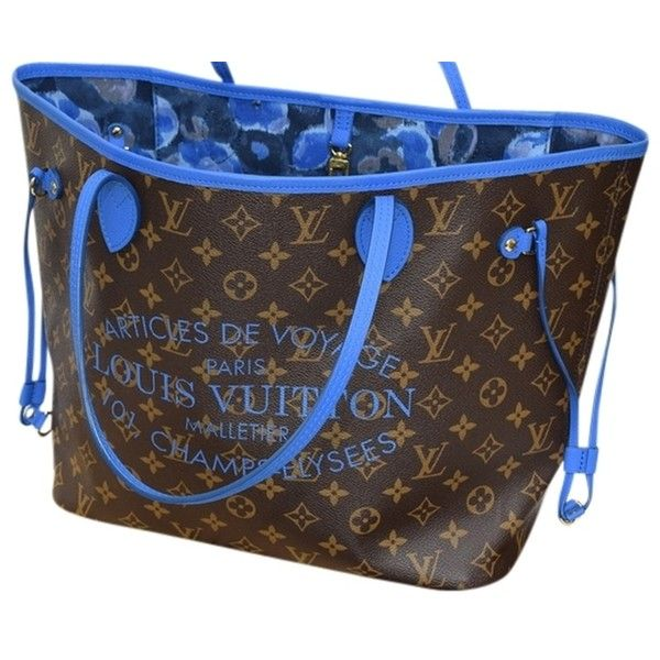Pre-owned Louis Vuitton Limited Edition Articles De Voyage Ikat... ($1,695) ❤ liked on Polyvore featuring bags, handbags, blue monogram, preowned handbags, blue tote, louis vuitton tote, monogrammed purses and louis vuitton purses