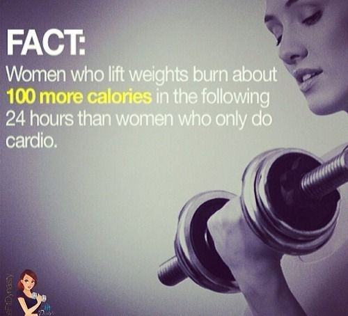 women who lift weights burn about 100 more calories in the following 24 hours than woman who only do cardio :)
