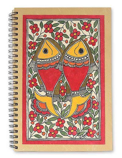 Handmade Paper Journal 40 Pages Madhubani Painting - Sea of Flowers | NOVICA