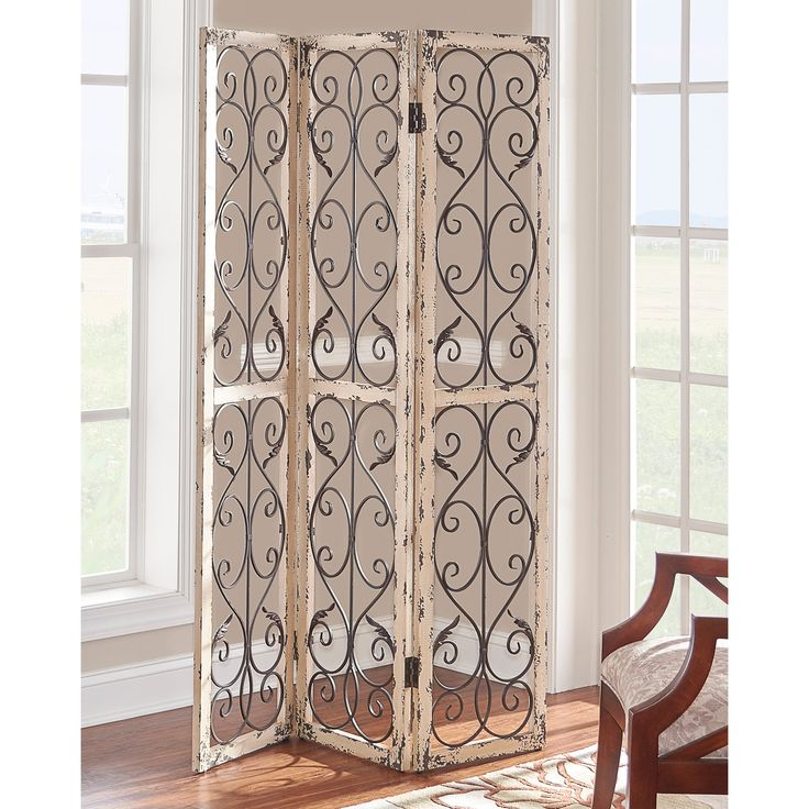 powell hinson whitegrey woodiron foldable screen white wash - Home Decor Screens