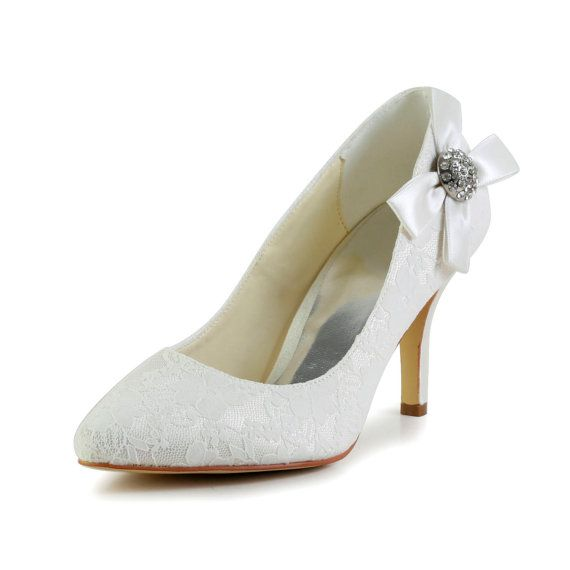 Women's Bridal Ladies Prom Wedding Shoes  Satin High Heels Closed Toe Pumps With Flower buttons on Etsy, $62.87 CAD