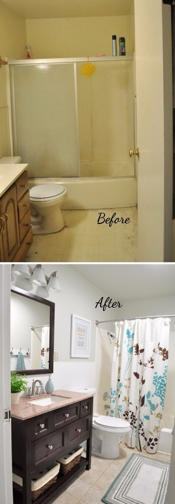 before and after 20 awesome bathroom makeovers future ideas for home pinterest. Black Bedroom Furniture Sets. Home Design Ideas