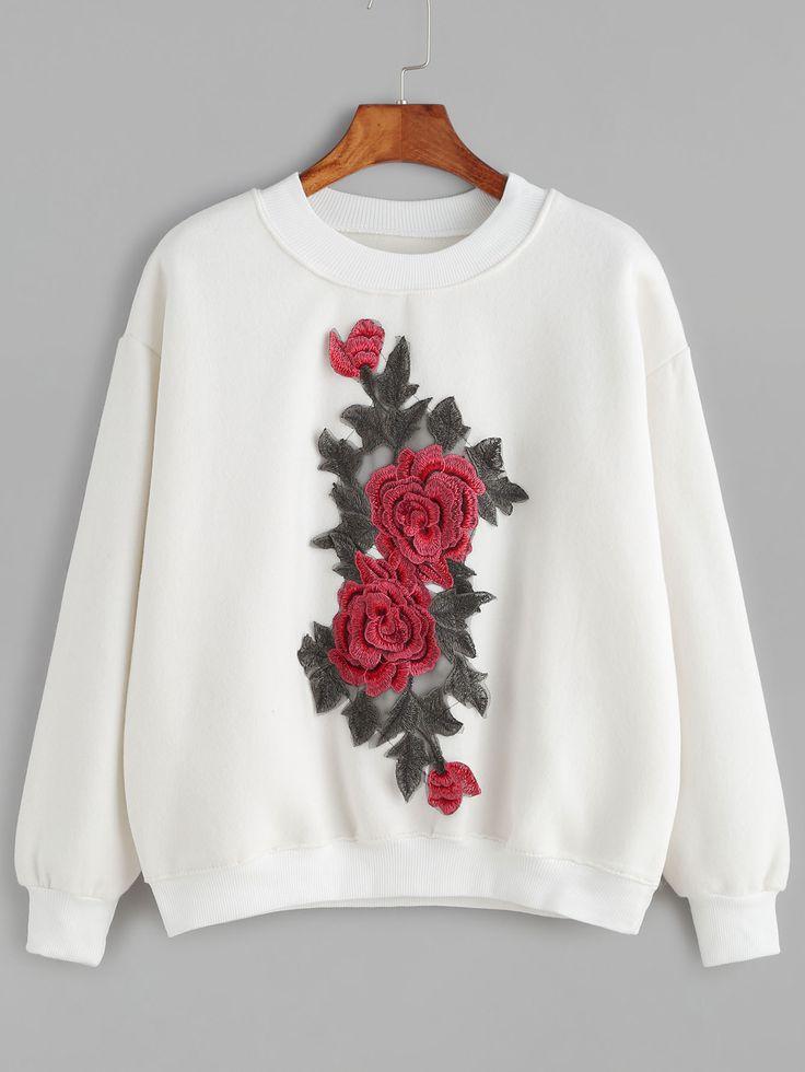 Shop White Drop Shoulder Flower Embroidered Sweatshirt online. SheIn offers White Drop Shoulder Flower Embroidered Sweatshirt & more to fit your fashionable needs.