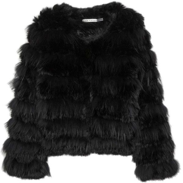 Womens Shearling & Fur Jackets Alice + Olivia Fawn Black Fur Jacket…