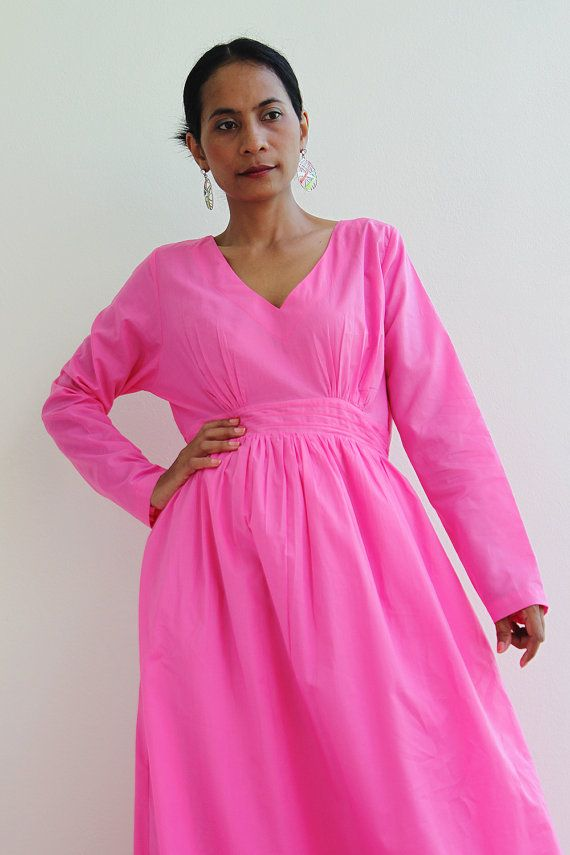 Long Maxi Dress  Pink Long Sleeve dress  Feel Good by Nuichan, $65.00