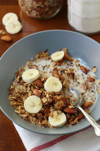 I've made other granola recipes before, but this site is great!  Best I've ever had.  Right now I have cranberry pecan granola and (dark) chocolate almond granola in my freezer.  Both to die for.  How to Make Your Own Granola by Completely Delicious, via Flickr