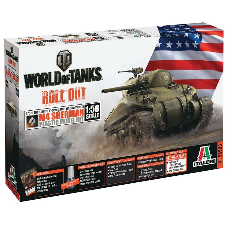 Italeri 1/56 World Of Tanks M4 Sherman