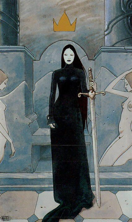 'Queen of Swords' - The Secret Tarot has card scenes and costumes that are a mix of eras from medieval and Renaissance to the 19th and 20th centuries. The art is a little comic-book-ish and features female nudity, but is very atmospheric.