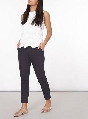 Dorothy Perkins Navy chino trousers | Debenhams
