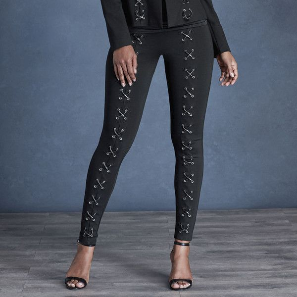 Lace-Up Ponte Skinny Pants Black Pants 4-Regular ($45) ❤ liked on Polyvore featuring pants, black, skinny pants, ponte trousers, pull on ponte knit pants, ponte pants and pull on pants