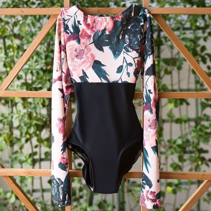 Floral and black dance leotard with long sleeves