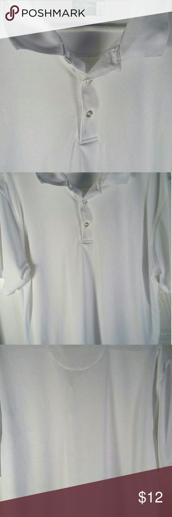 Men's White Golf Shirt This is a white polo golf shirt. It is in great condition with no rips, tears, or stains. It does have one small snag. Ben Hogan Performance  Shirts Polos