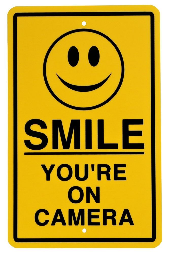 New Smile You're on Camera Yellow Business Security Sign CCTV Video Surveillance #Mysignboards