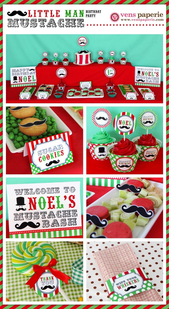 Sale  Christmas Little Man Mustache Red & Green (www.venspaperie.com)