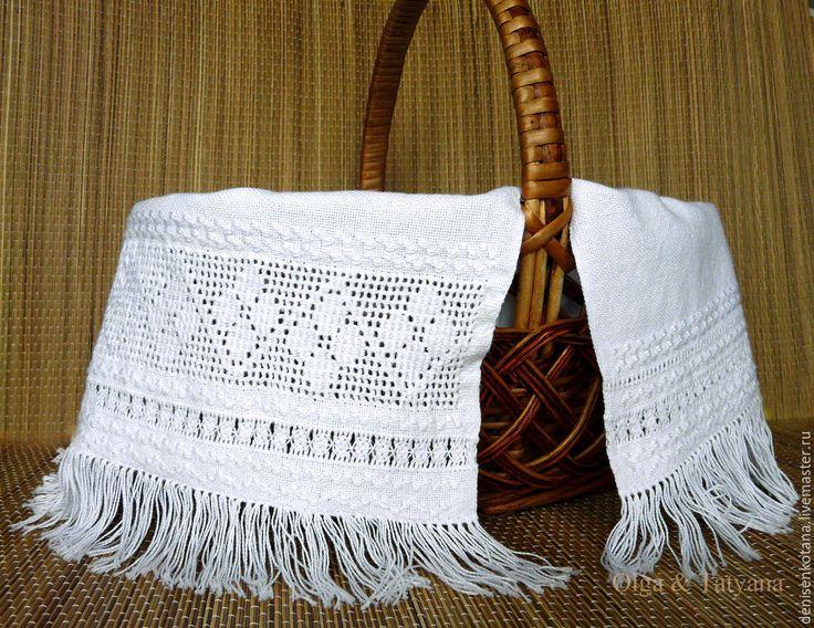Купить Пасхальная салфетка (рушник) ручная вышивка настил по сетке, мережки - белый, вышитая салфетка