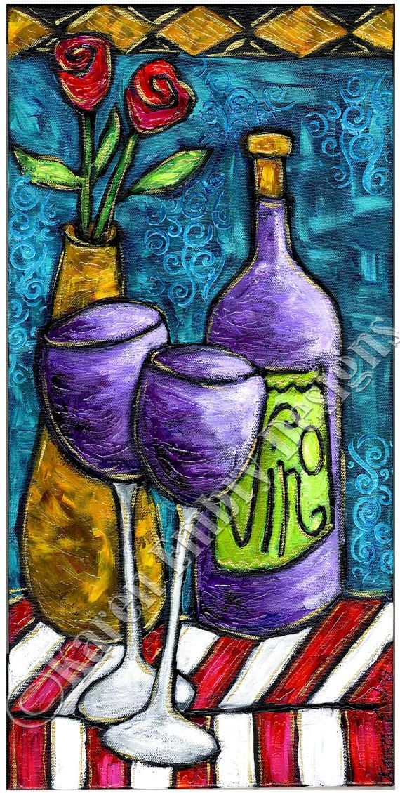 WIne Painting on Canvas - Original Acrylic Painting by Karen Embry