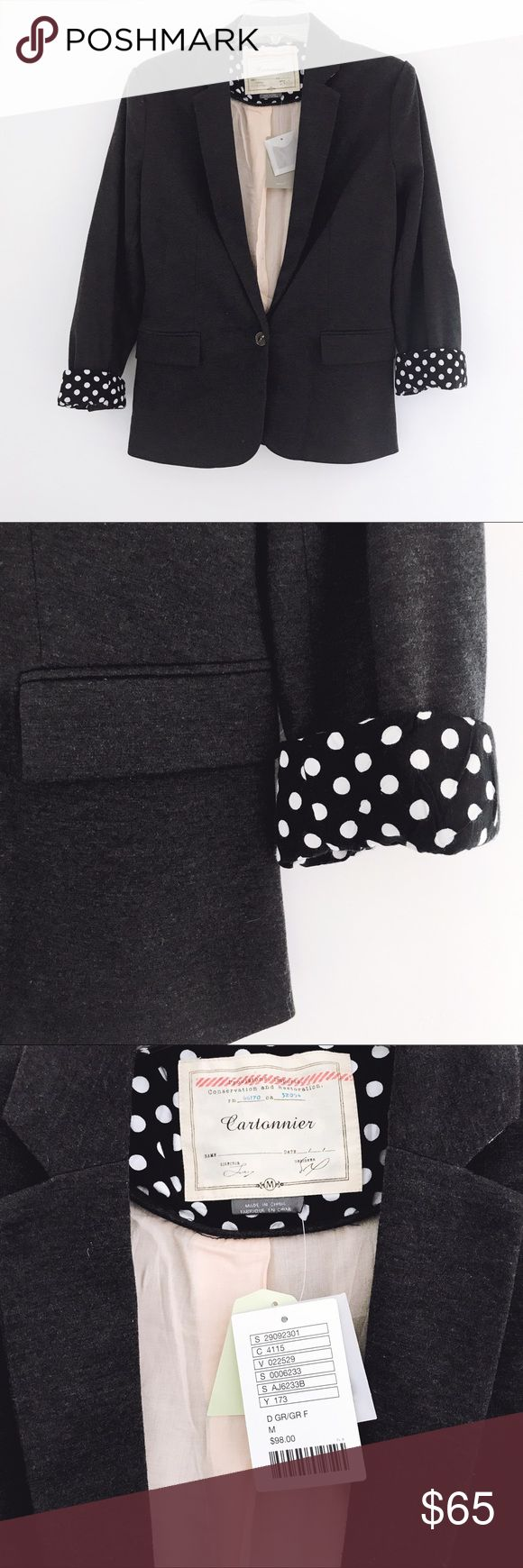 Anthropologie || Blazer Anthropologie Cartonnier Dotside blazer. By combining feminine sensibilities with menswear-inspired materials and contemporary cuts, Cartonnier creates whimsical yet intellectual pieces, such as this preppy knit jacket. Gray blazer with black and white polka dot sleeve lining. Fully lined. Cute elbow patches. Shell: 73% Polyester / 27% Cotton. Contrast: 95% Polyester / 5% Spandex. Lining: 100% Rayon. Anthropologie Jackets & Coats Blazers