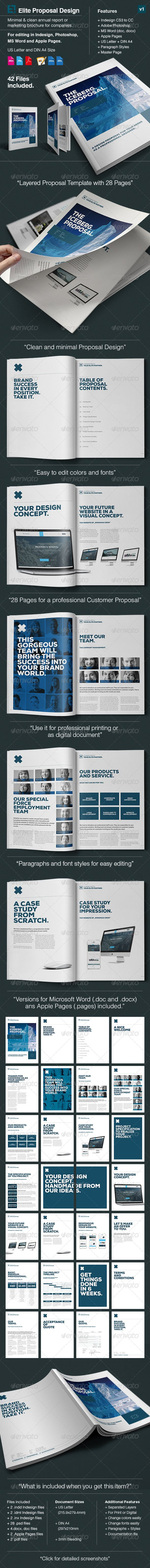 Elite Proposal in A4 and US Letter  Minimal and Professional Project Proposal template for creative businesses, created in Adobe InDesign, Photoshop Microsoft Word and Apple Pages. It comes with two paper sizes including US Letter and International A4.  This Proposals features:      A4 page size and US Letter Page size      28 Pages Template     Customize any Colour