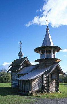 I templi e le case di legno sull'isola di Kizhi, a nord del Lago Onega, in Russia, hanno …