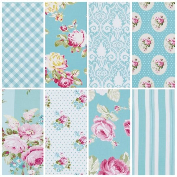 Sunshine Rose 8 Fat Quarter Set in Blue by Tanya Whelan