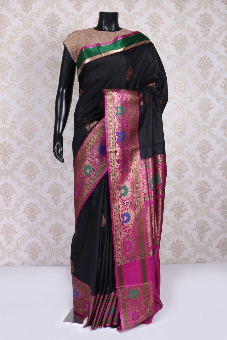 #Black & antique #gold banarasi silk #ethereal saree with zari weaved pallu -SR10991