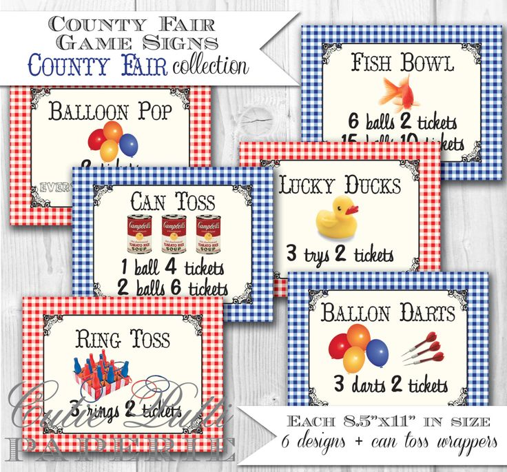 County Fair Party, State Fair Party, Country Fair Party - PRINTABLE GAME SIGNS - Cutie Putti Paperie by CutiePuttiPaperie on Etsy https://www.etsy.com/listing/78415690/county-fair-party-state-fair-party