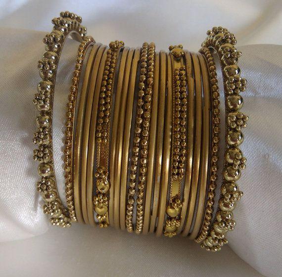 Antique Gold Indian Designer Bangles Set Women by Shoppingover